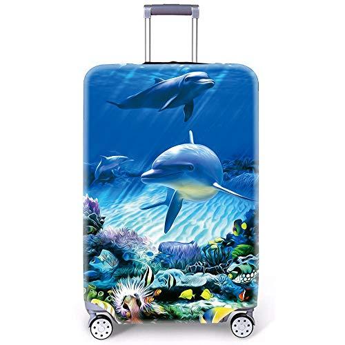"Sea Animals Pattern Suitcase Cover Funda de Equipaje por MukMok (Sin Maleta)-DelfíN-B m (22""-25"" Equipaje)"
