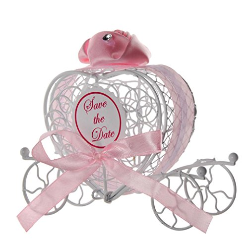 Transer Metal Candy Box Party Wedding Favors Boxes Romantic Carriage Sweets Chocolate Box (Pink)