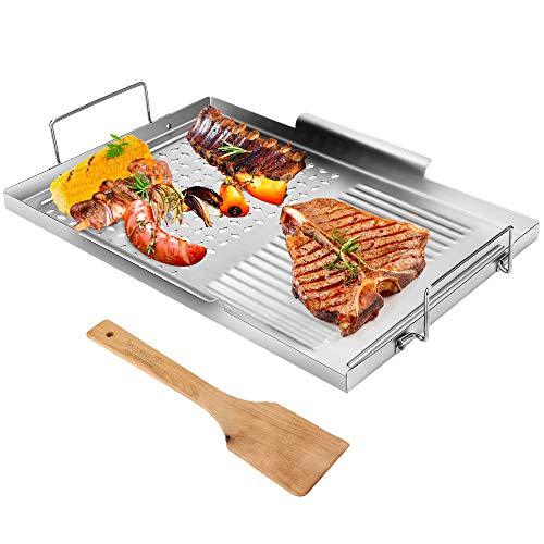 CestMall Parrilla Pan, Grill Topper Acero Inoxidable Parrilla Wok BBQ Recipiente para Hornear con Asas para Vegetal Barbacoa mariscos Carne de Cocina