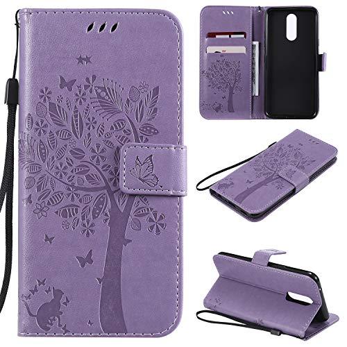 Nancen Compatible with Handyhülle LG K40 / K12 Plus Hülle, Flip-Hülle Handytasche - Standfunktion Brieftasche & Kartenfächern - Baum & Katze - Light Purple