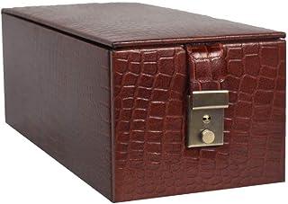 Stones Bridge Genuine Leather Exclusive Locker Jewellery Storage Box, Vanity Box (Brown)