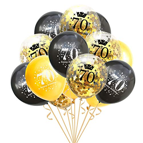 thematys® Happy Birthday Globos para Fiestas - 15 Piezas Algunas llenas de Confeti - para Adultos y cumpleaños Redondos (70)