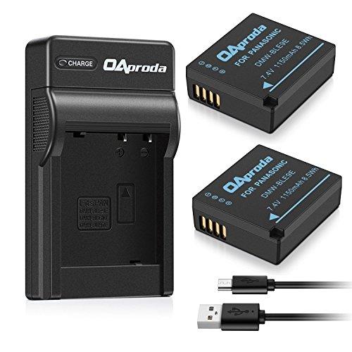 OAproda 2 Pack DMW-BLE9 Battery and USB Charger for Panasonic DMW-BLG10, Lumix DMC-GF3, DMC-DF5, DMC-GF6, DMC-GX7, DMC-GX85, DMC-LX100, DMC-ZS60, DMC-ZS200 Digital Camera