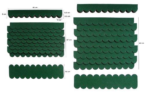 0,8 m²-2-Sets Mini Dachschindeln,Grün,Dachpappe,Vogelhäuser,Brunnenüberdachung,Abdeckung,