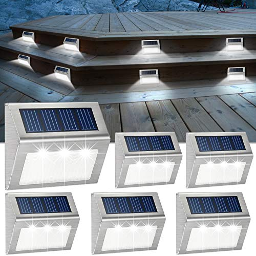 Solar Deck Lights Bright 3 LED Stair Lights Waterproof Stainless Steel Fence Lights Outdoor Solar Powered Lamp for Patio Walkway Garden Fences Pathway Wall Paths 6 Pack (White Light)