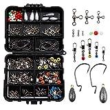 LIHAO 160pcs Kit d'Accessoires pour Pêche, Boîte de Pêche avec Hameçons, Perles, Émerillons,...