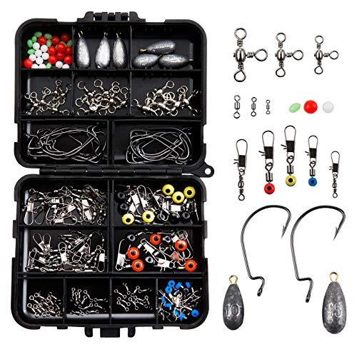 LIHAO 160pcs Kit d'Accessoires pour Pêche, Boîte de Pêche avec Hameçons, Perles, Émerillons, Bouchons,Connecteur