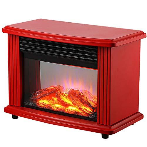 Langyinh Elektrische open haard verwarming, staande elektrische kachel met 3D-vlameffect, oververhittingsbeveiliging, 2 warmtemodi, stil design lente, rood