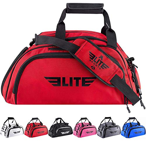 Boxing gym duffle Bag For MMA, BJJ, Jiu Jitsu gear, Elite Sports duffel athletic gym backpack with shoes compartment (Red, Large)