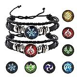 Genshin Impact Animation Périphérique Unisexe Bracelet 2 PCS Godsend Fortunate Wristband avec 7 PCS Elements Remplacement pour Étudiant Adulte Jeu Fan Cosplay Bracelet Cadeau