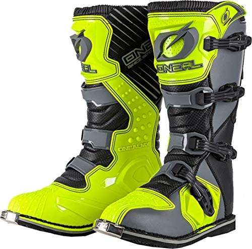 O'Neal Rider Boot MX Cross Stiefel Grau Gelb Hi-Viz Motorrad Enduro Motocross Offroad, 0329-9, Größe 43
