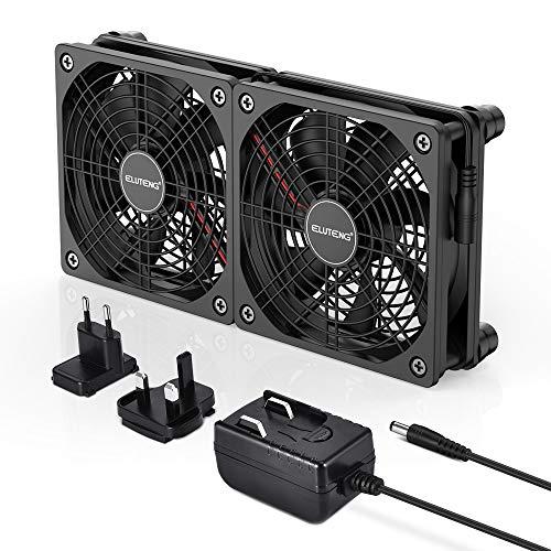 ELUTENG 120mm Lüfter 12V 1A, Dual PC Lüfter 120mm-leises Kühllüftersystem für Heimkino-AV-Schrank-,Receiver Router AV Cabinet-Kühlung