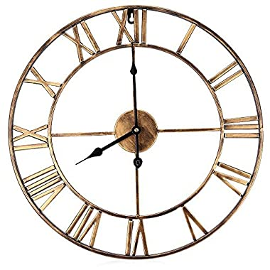 Brief Vintage Clock European Retro Handmade Iron 3D Decorative Wall Clock Roman Numerals Design (copper color)