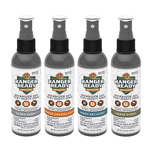 Ranger Ready Picaridin 20% Tick & Insect Repellent, Assorted Scents, Travel Size 3.4 Oz. (Pack of 4)