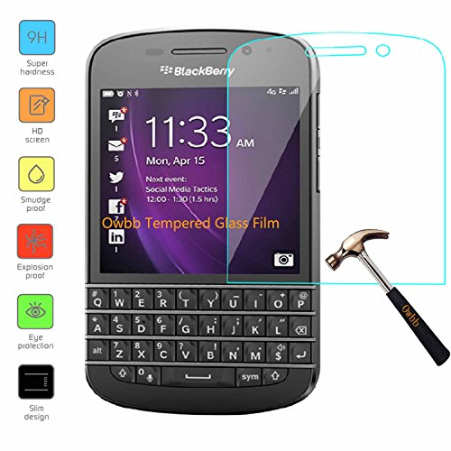 Owbb Glas Bildschirm Schutzfolie für BlackBerry Q10 Smartphone Screen Panzerglas Protector Hartglas Schutzfolie nur 0.3mm dünn, 9H, 2.5D Ro& Edge