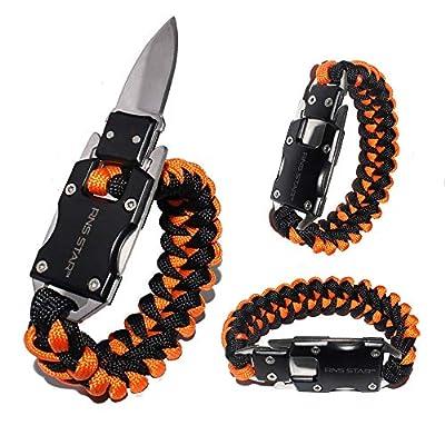 RNS STAR Paracord Knife Bracelet Survival Gear Kit Tactical EDC Bracelet, Multitool Survival Gear for Hiking Traveling Camping, Best Gift for Men & Women (Black_Orange_Knife)