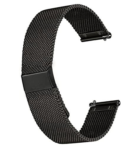 Yolistar Correa Reloj 18mm 20mm 22mm Correa de Acero Inoxidable Repuesto Correas Reloj Magnética Reemplazo de la Banda de Reloj de Pulsera de Acero Inoxidable para Hombres y Mujeres - Negro