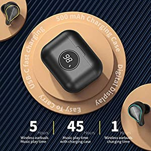 Aenloud True Wireless Earbuds Bluetooth 5.0, Touch Control IPX7 Waterproof in-Ear Headphones 3D Stereo Sound Mic Noise Canceling Headset 45Hrs Playtime with Mini Charging Case USB-C for Sports (Black)