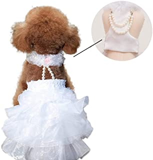 Yu-Xiang Dog Wedding Dress Bride Outfit with Pearl Necklace and Rose Pet Princess Formal Apparel for Cat Rabbit Poodle (XS)