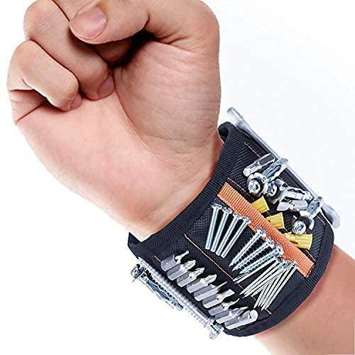 Muñequera Magnética Ajustable para Herramientas - Pulsera con 10 Súper imanes para sujetar Tornillos, Clavos, Brocas, Pasadores, Pernos - Regalo para tanto hombres como para Mujeres.