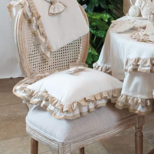 CdCasa Stuhlkissen mit Zwei Rüschen, Kissenbezug, Kissenhülle, Stuhlkissenbezug Landhaus Shabby Chic - Rüsche Volant/Schleife - 40x40 - Weiß/Beige - 100% Baumwolle