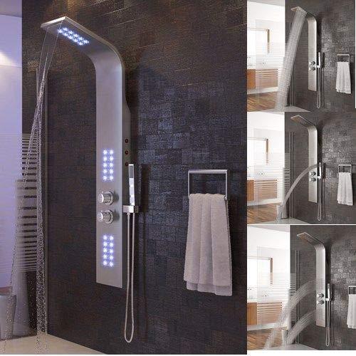 Colonne de douche LED,Panneau de douche en Acier Inoxydable avec jets de massage,Douchette à main,Cascade et douche effet pluie (Acier Inoxydable LED)