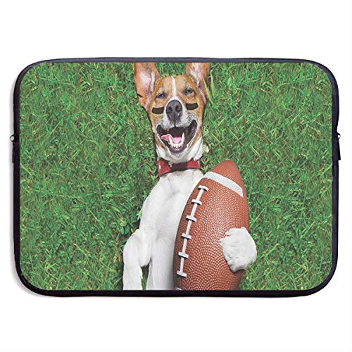 Perro de fútbol con una Bolsa de Hombro con Funda para Laptop, Pelota de Rugby, Estuche Protector, Funda Delgada de 15 Pulgadas