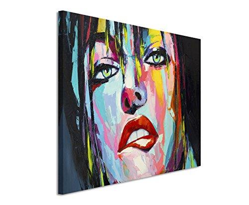 Paul Sinus Art XXL Fotoleinwand 120x80cm Farbenfrohes Portrait Einer Frau mit grünen Augen auf Leinwand Exklusives Wandbild Moderne Fotografie für ihre Wand in vielen Größen