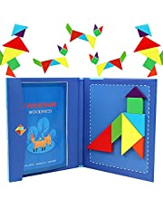 Tangrams for Kids Travel Games   Jigsaw Shapes Wooden Magnetic Toys   Puzzle Book Road Trip Game Brain Teasers Educational Toys For 3, 4, 5, 6, 7, 8 Years Old