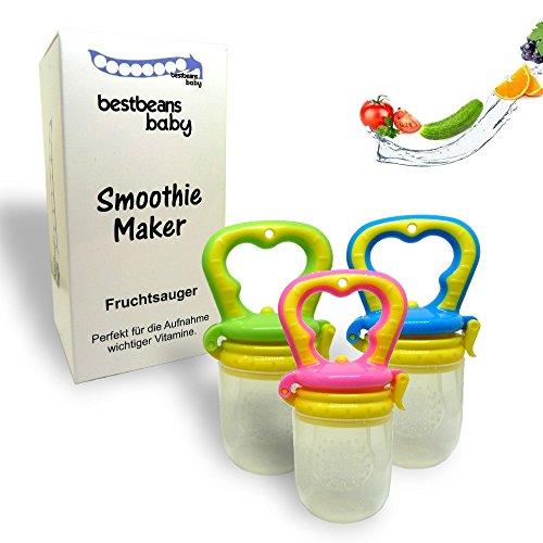 bestbeans Baby Smoothie Maker Fruchtsauger Schnuller - Perfekt für Früchte Obst Gemüse Breisauger (L, Pink)