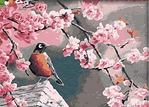 Roze perzikbloesems en ekster Vogels Verf op nummer Kits Diy Digitaal schilderen Kleuren op canvas Olieverf door uzelf Handgemaakt 16X20 inch Frameloos
