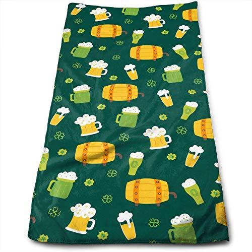 Toallas de mano de baño de trébol de cerveza y barril de trapo de cocina lavable a máquina, toallas de cocina para secado, limpieza de cocina, horneado