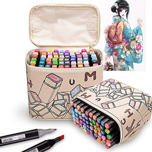 Litchitree Zeichenstifte, mit doppelter Spitze, für Zeichnungen, Alkohol, mit farblosem Mixer-Marker, Highlight-Stift 80 Colours