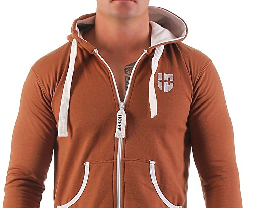Gennadi Hoppe Herren Jumpsuit Onesie Jogger Einteiler Overall Jogging Anzug Trainingsanzug Slim Fit,Camel,XXX-Large - 4