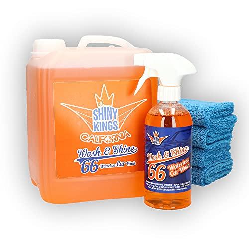 Shinykings Wash&Shine 66 WASSERLOSER Auto Reiniger | Pflege und Schutz inkl. Glanzeffekt für Lack, Chrom-, Alufelgen | 5,5 l mit 4 Mikrofasertüchern | umweltfreundlich und biologisch abbaubar