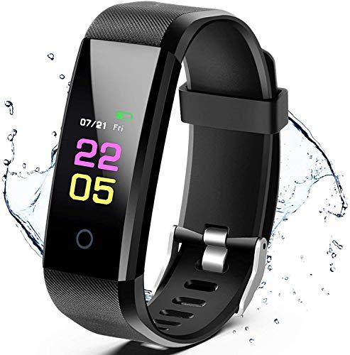 PXFD Rastreador de actividad, pulsera de fitness con pulsómetro, resistente al agua IP67, reloj inteligente para hombre y mujer