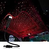 Luces LED de atmósfera, múltiples modos ajustables, proyector de estrellas USB, luz nocturna, luz de estrella de techo, decoración de atmósfera para coche/hogar/fiesta (rojo)