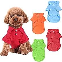 KINGMAS 4 Pack Dog Shirts Pet Puppy T-Shirt Clothes Outfit Apparel Coats Tops