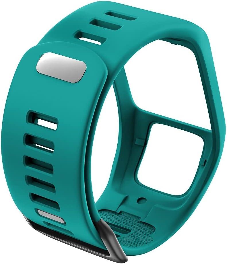 XXDA Silicona Reemplazo de Pulsera Reloj Correa para Tomtom Runner 2 3 Spark 3 GPS Reloj Deportivo para Tomtom 2 3 Series Soft Smart Band (Band Color : Gree-Blue)