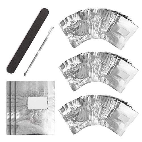 Nail Polish Remover Wraps Pads, UNEEDE 300 Stück Aluminiumfolie Nagellack Remover Pads und 1 Stück Nagelhaut Schieber und 1 Nagelfeile Streifen, Hilfsmittel zum einfachen entfernen von Nagellack