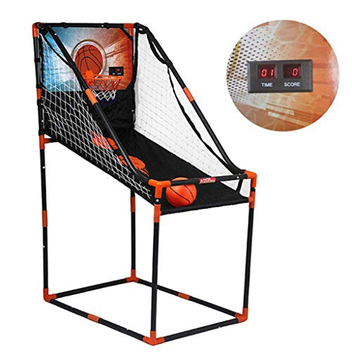 LYH Einzel- / Doppel-Basketball-Arcade-Spiel, Basketball-Arcade-Spiel für Kinder, Basketballkorb-Netz-Innenschießsystem, platzsparend zusammenklappbar