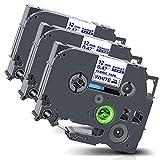 Xemax Compatibile Textile Nastro 12mm x 3m Sostituzione per Brother P-Touch Tze-FA3 Tz-FA3 Blu su Bianco Cassette per PT-H101C H105 PT-D210 D600VP PT-P750W PT-1000 PT-1010 PT-1230PC, Confezione da 3