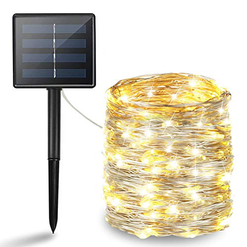 BHCLIGHT Solar String Lights, 200 LED Solar Lights Outdoor, Waterproof Silver...