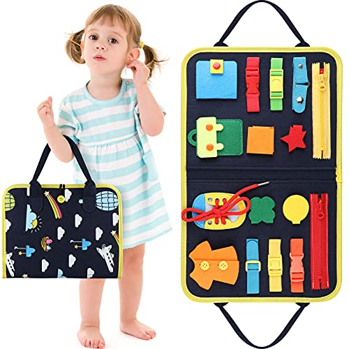 Piklohas Toddler Toys' Busy Board Educational Montessori Education Help Kids Play for Toddlers Foldable Sensory Toys Autism Toys Bag Design, Toddler Activity Board - Educational Learning Toys