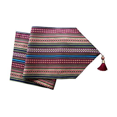 MEI XU Chemins de table - Nouveau drapeau chinois de lit lit foulard style japonais rayures de couleur décoration de la maison longue nappe restaurant table table basse table drapeau (multi-taille) Dé