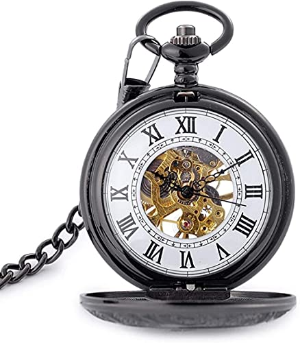 Reloj de bolsillo negro tallado tallado mecánico bolsillo reloj retro bolsillo reloj de bolsillo estudiante collar de estudiante reloj a escala romana bolsillo reloj mecánico reloj de cumpleaños