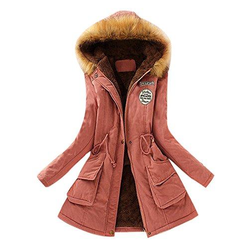 Toamen Womens Coat Clearance Autumn Winter Warm Fur Collar Slim Fit Monochrome Zipper Long Hooded Jacket Parka OutwearHot Pink 8