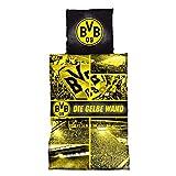 Borussia Dortmund Biber Bettwäsche - Gelbe Wand - 2-teilig (Bezug/Kissen) BVB 09