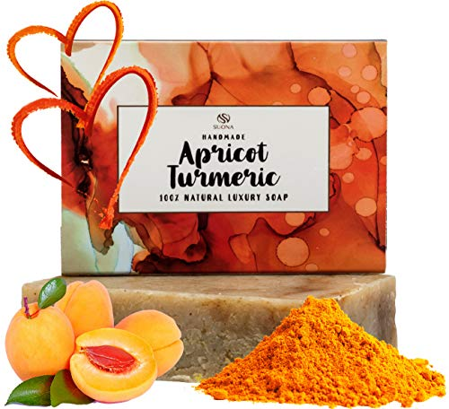 Turmeric Soap Bar - 100% Natural Face & Body Wash For Women, Men & Teens. Specially Formulated With Crushed Apricot Seeds & Parsley Powder. Gentle Facial & Body Cleanser For All Skin Types.