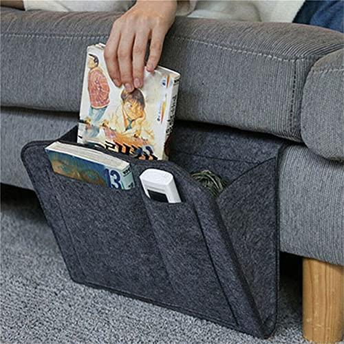 Bolsa de almacenamiento para mesilla de noche, de fieltro, para sofá, con mando a distancia, organizador de almacenamiento para cama, color negro